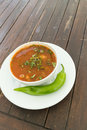 Beef soup with green pepper served at restaurant Royalty Free Stock Photos