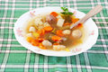 Beef soup with vegetables plate Stock Photo