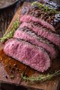 Beef steak. Juicy medium Rib Eye steak slices on wooden board with fork and knife herbs spices and salt Royalty Free Stock Photo