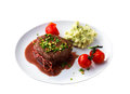 Beef steak and mashed potato Stock Photography