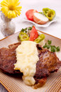 Beef steak with mashed potato Stock Image