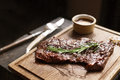 Beef steak. Piece of Grilled BBQ in spices Royalty Free Stock Photo