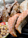 Beef steak and seafood steak Royalty Free Stock Photo