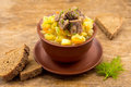Beef stew with potatoes in ceramic bowl over rustic wooden background Stock Photography
