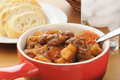 Beef stew in a serving crock Stock Photography