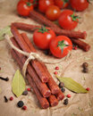 Beef sticks or sausages Royalty Free Stock Photo