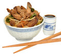 Beef stir fry meal in a traditional chinese decorated bowl isolated on a white background Stock Image