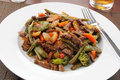 Beef stir fry on rice Royalty Free Stock Photos