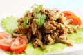 Beef stroganoff with cilantro tomato lettuce and Stock Photo