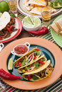 Beef tacos assorted mexican dishes with whole grain corn as the main subject Royalty Free Stock Image