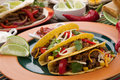 Beef tacos assorted mexican dishes with whole grain corn as the main subject Royalty Free Stock Photo