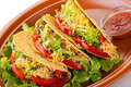 Beef tacos with salad and tomatoes salsa Royalty Free Stock Photo