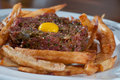 Beef tartare with and egg Stock Photo