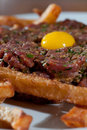 Beef tartare with and egg Royalty Free Stock Image