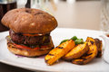 Beefburger with fried potatoes Royalty Free Stock Photo