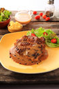 A beefsteak is a flat cut of beef usually cut perpendicular to the muscle fibers Stock Images