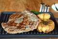Beefsteak with fried potato grilled served potatoes Royalty Free Stock Images