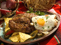 The beefsteak mexican style w egg and vegetable Royalty Free Stock Photos
