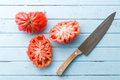 Beefsteak tomatoes. Coeur De Boeuf. Royalty Free Stock Photo