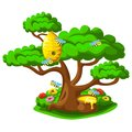 Beehive on a tree with merry bees and a pot of honey Royalty Free Stock Photo