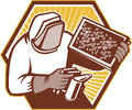 Beekeeper apiarist holding bee brood retro illustration of a honey farmers apiarists or apiculturist a smoker and frame working in Royalty Free Stock Image