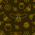 Beekeeping, bee seamless pattern yellow and black color, apiculture vector illustration. Apiary thin line icons -