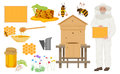 Beekeeping color icons set. Man beekeer in special uniform costume. Bee house and honey, flowers with bee, honeycomb. Royalty Free Stock Photo