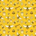 Beekeeping colored seamless pattern, apiculture vector illustration. Apiary thin line icons - bee, beehives, barrel