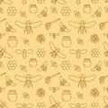Beekeeping seamless pattern, apiculture vector illustration. Apiary thin line icons bee, beehive, honeycomb, barrel