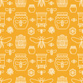 Beekeeping seamless pattern orange color, apiculture vector illustration. Apiary thin line icons bee, beehive, honeycomb