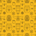 Beekeeping seamless pattern yellow color, apiculture vector illustration. Apiary thin line icons bee, beehive, honeycomb