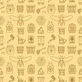 Beekeeping seamless pattern yellow color, apiculture vector illustration. Apiary thin line icons - bee, beehives