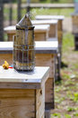Beekeeping smoker for beekeeper to manage bee hive Royalty Free Stock Image
