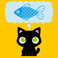Beeldverhaal aanbiddelijke cat dreaming with een vis Royalty-vrije Stock Foto's