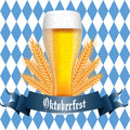 Beer abstract and oktoberfest text on special blue and white background Stock Image