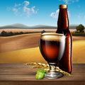 Beer background. Highly realistic illustration with the effect