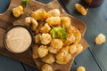 Beer battered wisconsin cheese curds with dipping sauce Royalty Free Stock Photos