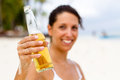 Beer on beach Royalty Free Stock Image
