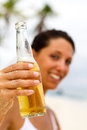 Beer on beach Stock Image