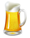 Beer with bladder in glass mug on white Stock Images