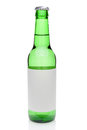 Beer bottle with blank label a green isolated on white ready for your text or copy Royalty Free Stock Images