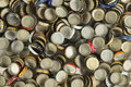 Beer bottle caps a collection of representing the craft industry Stock Photo