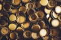 Beer bottle caps heap as background Royalty Free Stock Photo
