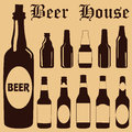 Beer bottle collection pub alcohol Royalty Free Stock Image