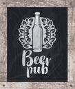 Beer bottle drawing chalk on board in wooden frame