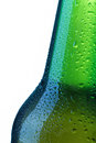 Beer bottle drops detail on white Royalty Free Stock Images