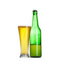 Beer in bottle and glass isolated on white Royalty Free Stock Image
