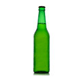 Beer bottle green with drops Royalty Free Stock Photo