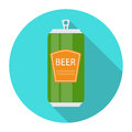 Beer Bottle Template in Modern Flat Style Icon on White. Materia