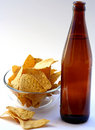 Beer Bottle with Unhealthy Eating Royalty Free Stock Photo